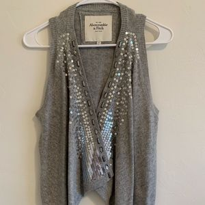SMALL Sweater Vest, Small, Grey with Embellishment